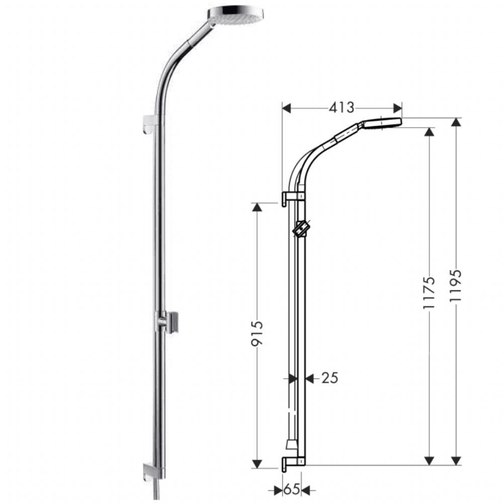 Hansgrohe Rainbow 900mm Shower Set With Curved Sliding Rail - Model 27876000